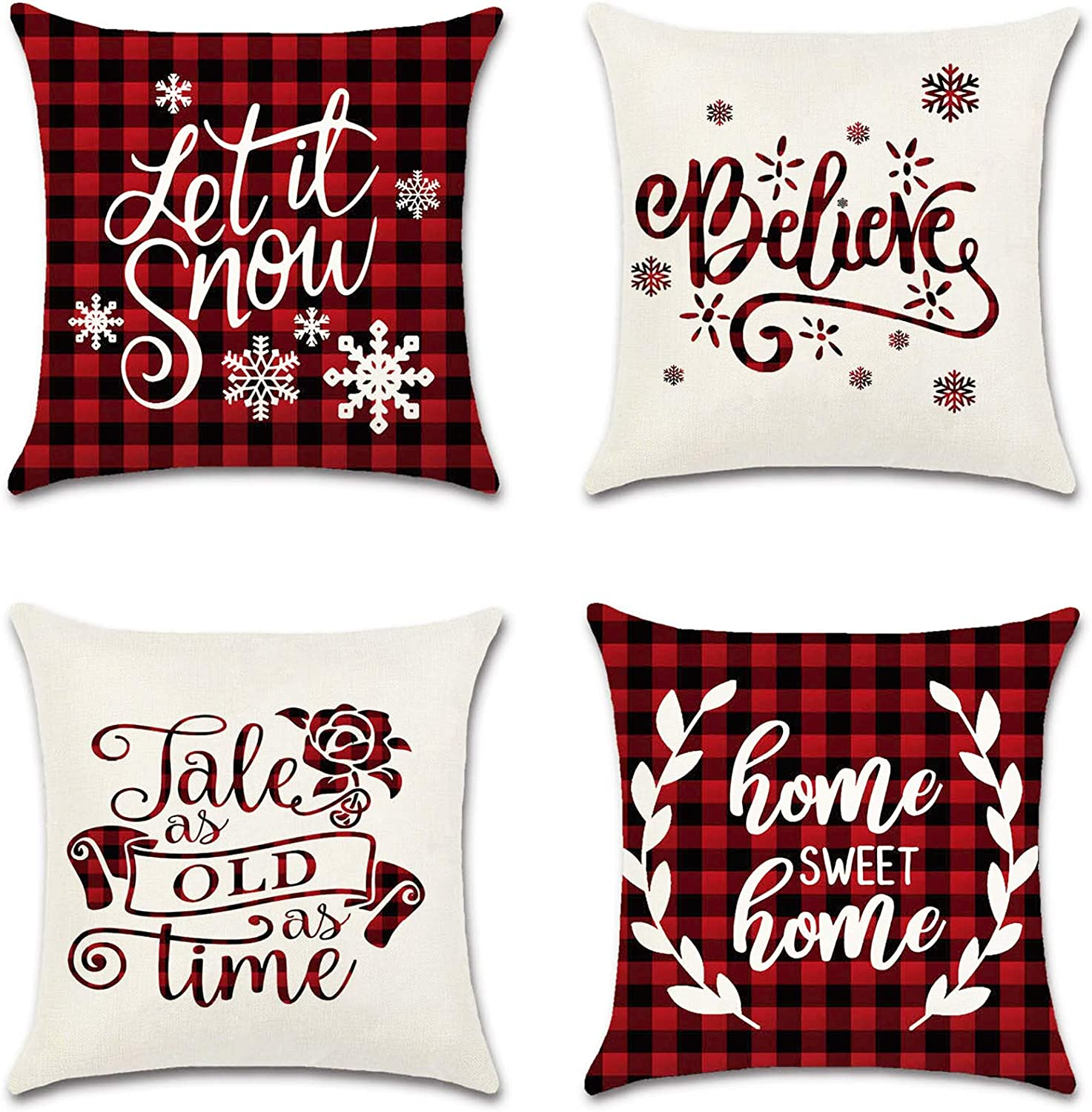 Acerich Christmas Throw Pillow Covers 18x18 Inch, 4 PCS Red Buffalo Plaid Christmas Pillow Cases for Home Xmas Decorations