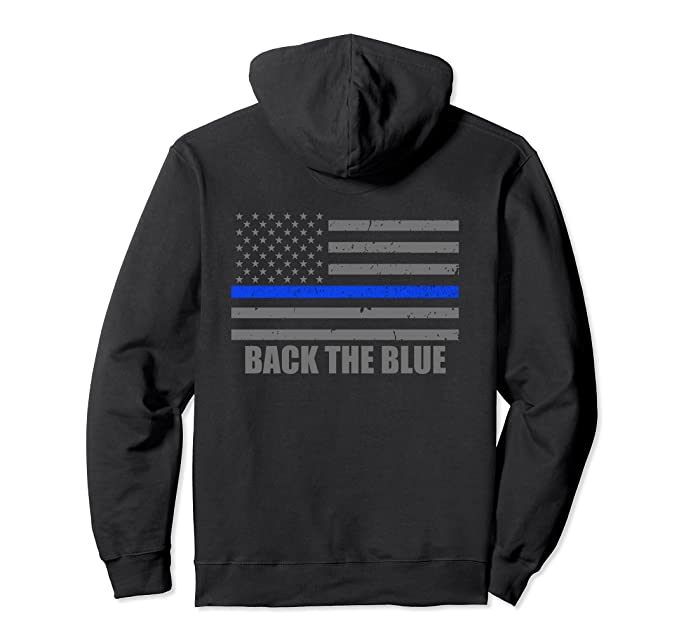 2075be2d Unisex Back The Blue Hoodie - Thin Blue Line American Flag 2XL Black