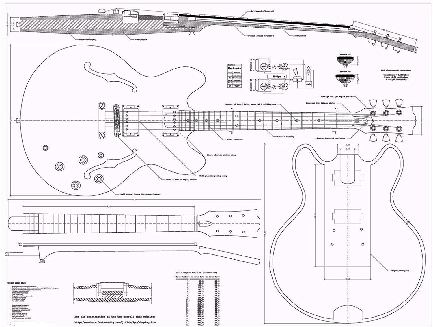 Amazon.com: Gibson ES335 Jazz Guitar PLANS - Full Scale - How to ...