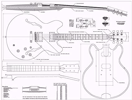 Gibson ES335 Jazz Guitar PLANS - Full Scale - How to Build