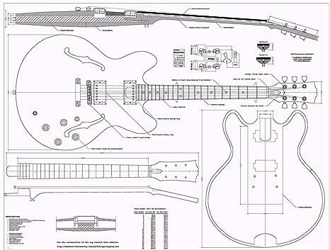 Gibson ES335 planos Guitarra de Jazz - Full báscula - cómo para su montaje