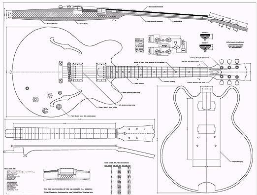 Gibson ES335 planos Guitarra de Jazz - Full báscula - cómo para su montaje: Amazon.es: Instrumentos musicales