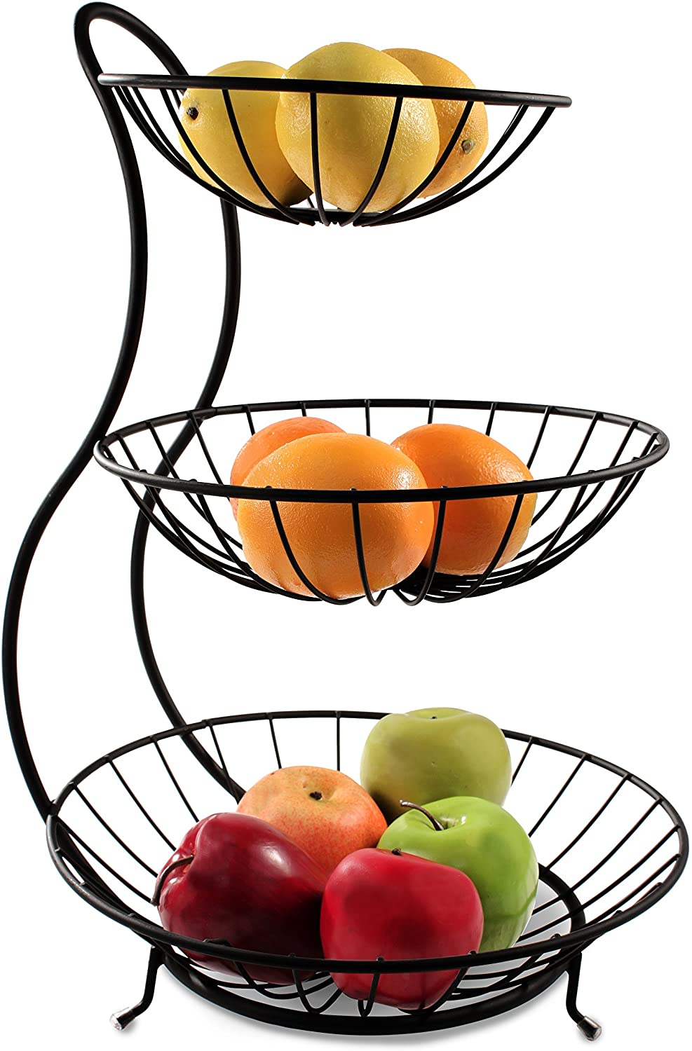 Spectrum Diversified Yumi Arched Server Stacked, 3-Tier Bowls, Dining Table & Kitchen Counter Organizer, Modern Fruit Basket Stand, Black