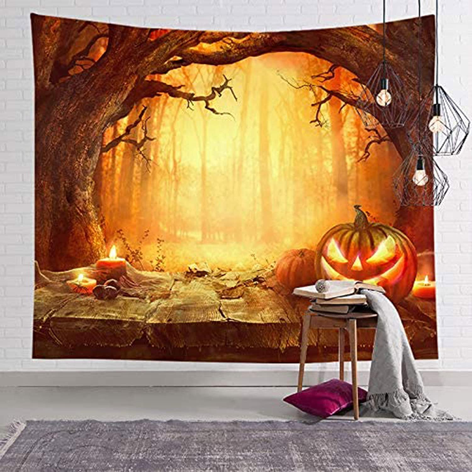 ECOTOB Halloween Tapestry Magical Fog Haunted Woods Tapestry Wall Hanging Blanket Misty Forest Woodland Big Old Trees and Pumpkin Tapestries for Bedroom Living Room Dorm Party Decor,80Wx60H inches