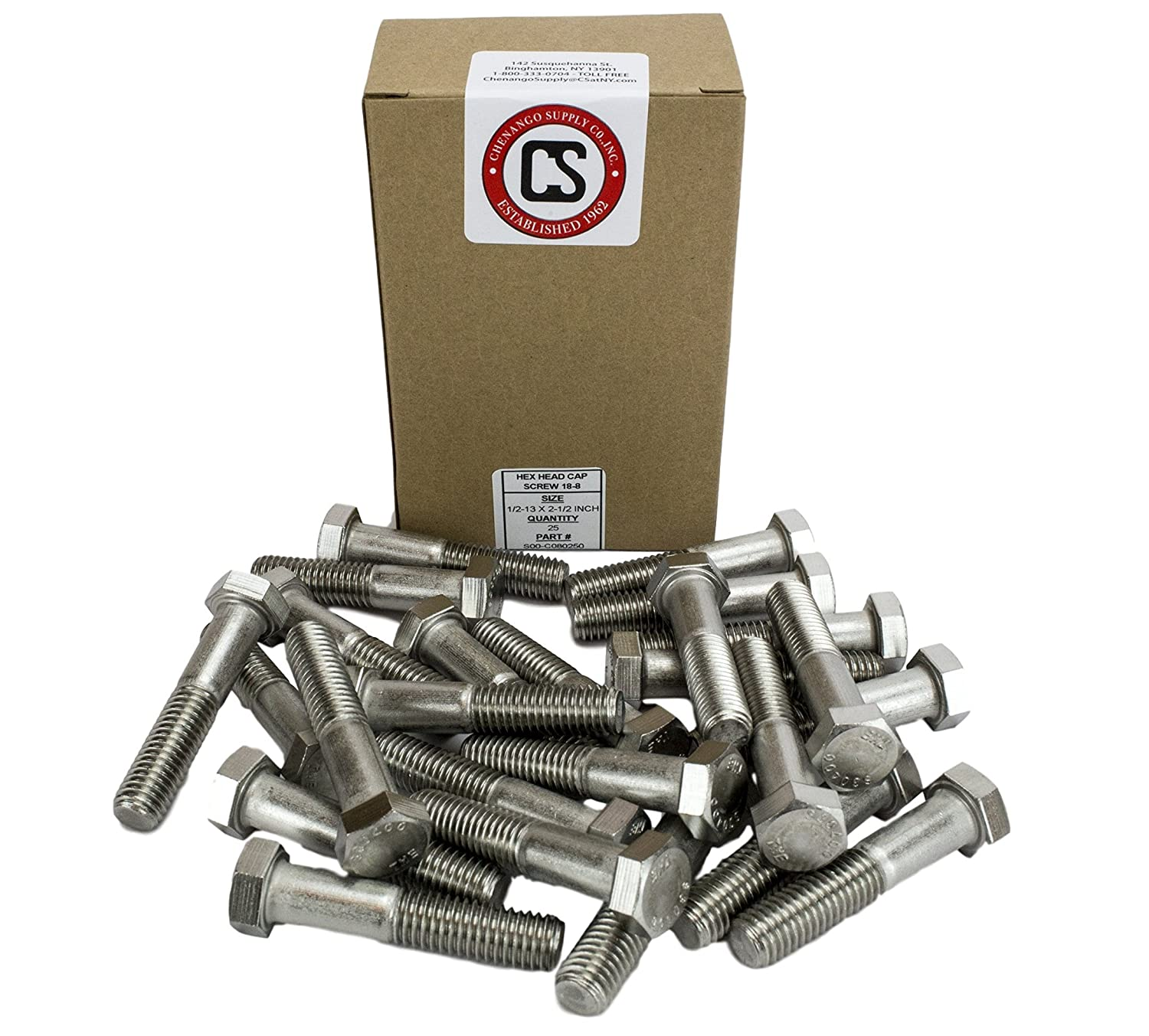 304 Stainless Steel 3//4 To 5 Lengths Available in Listing Stainless 1//2-13 x 5 Hex Head Bolts 25 pieces 1//2-13 x 5