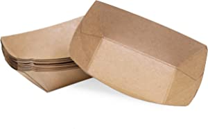 1/2 lb Kraft Disposable Paper Food Tray for Carnivals, Fairs, Festivals, Concession Stands, Food Trucks (Kraft - extra small 1/2 lb, 25)