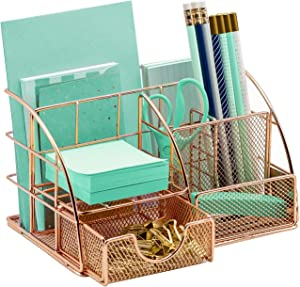 Sorbus Rose Gold Desk Organizer for Women, Cute Office Supplies Accessories All-in-One Desktop Caddy Includes Pen/Pencil Holder, Mail Organizer, and Sliding Drawer for Home or Office(Copper/Rose Gold)