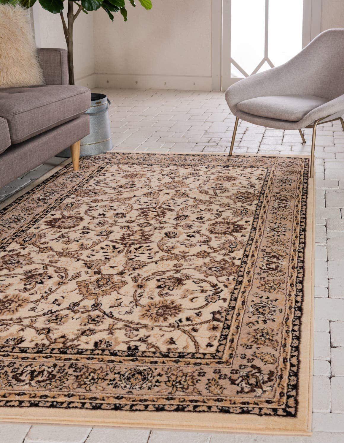 Unique Loom Kashan Collection Traditional Floral Overall Pattern with Border Ivory Area Rug 8 0 x 10 0
