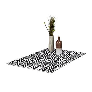 Relaxdays Teppich Baumwolle, Läufer Rutschfest, Teppichläufer Flur, Gewebt,  Wohnzimmerteppich 120x180 Cm,