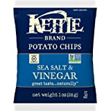 Kettle Brand Potato Chips, Sea Salt and Vinegar, Single-Serve 1 Ounce Bags (Pack of 72)