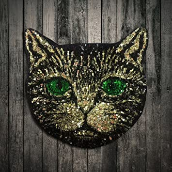 Amazon.com: lot Sequin Metal Wire Green Eye Cat Stickers Embroidered ...