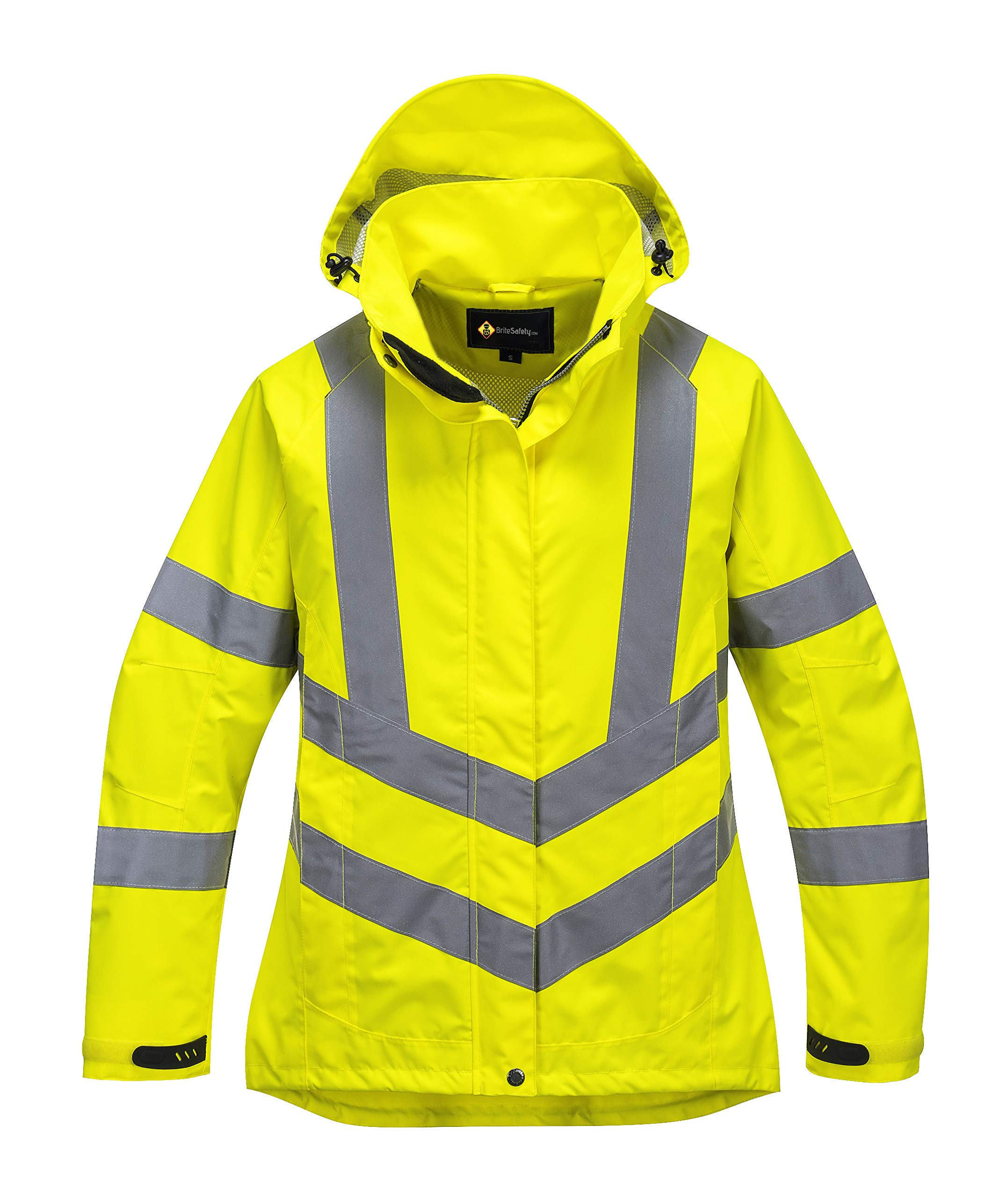 Ladies Hi Vis Breathable Jacket - Lightweight HiViz Rain Jacket for Women - Ansi Class 3, High Visibility, Insulated (Small, HiVis Yellow)