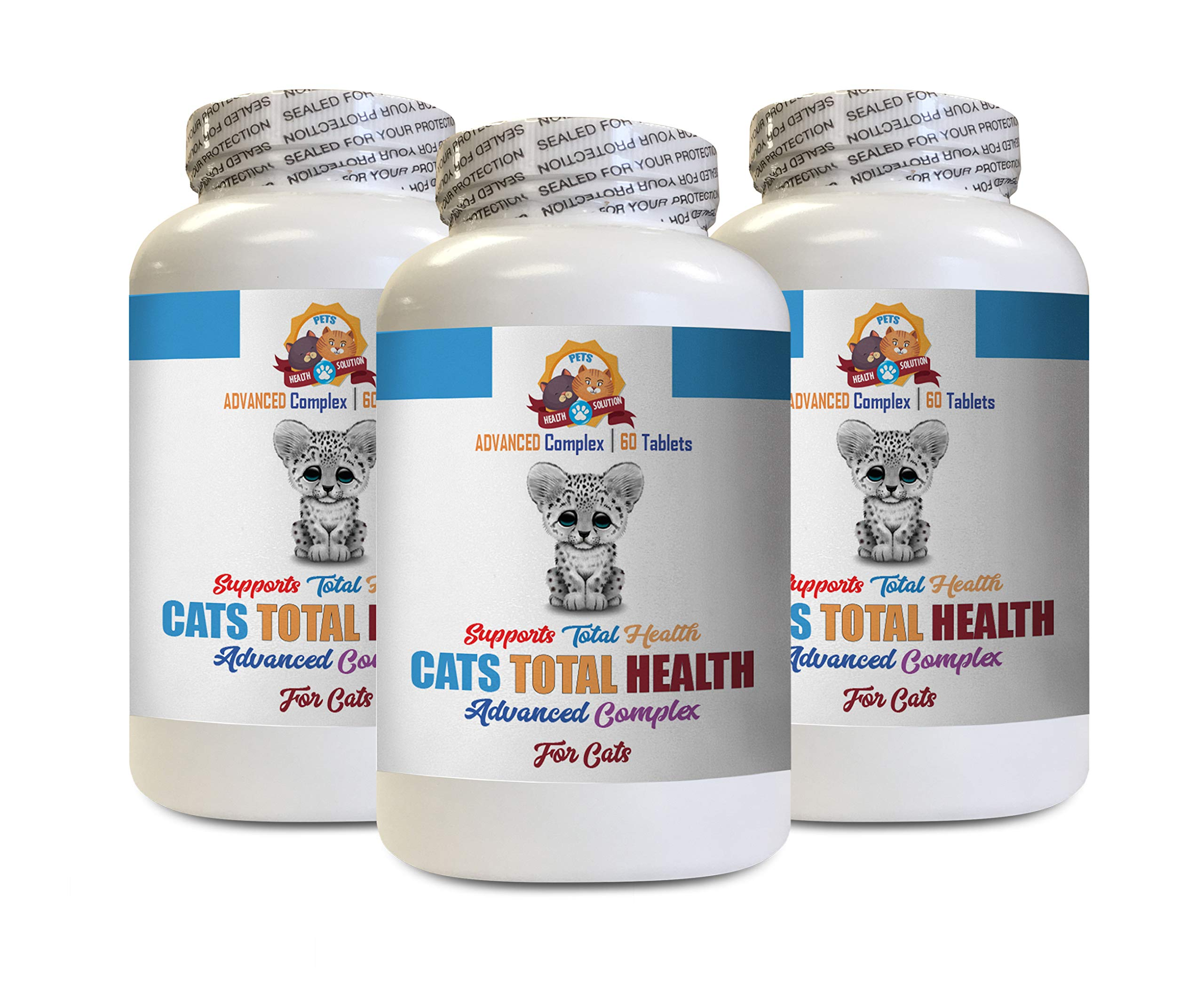 Itch Relief for Cats - Cats Total Health Complex - Immune Support - Hair Coat Oral Eye Urinary Care - cat Urinary Tract Health Treat - 3 Bottles (180 Tablets) by PETS HEALTH SOLUTION