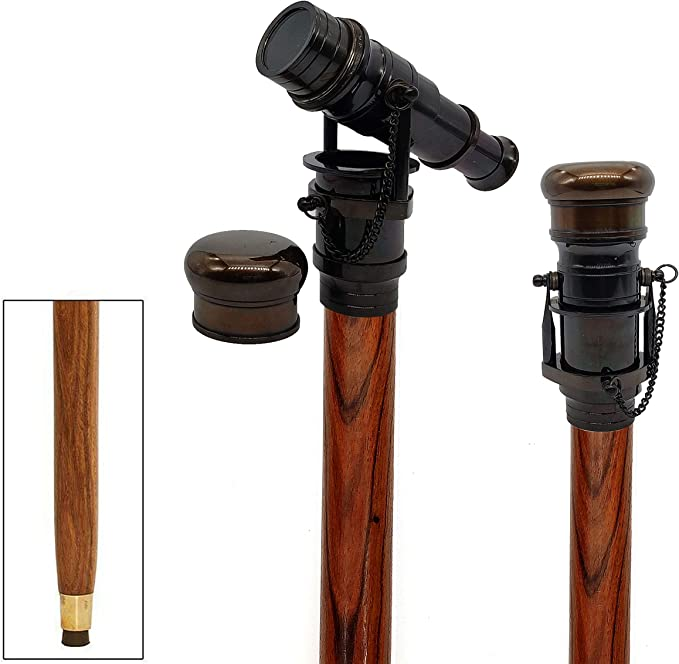 Brass Imperial Designer Nickle Finish Scope Telescope With Wooden Walking Stick