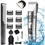 Hair Clippers for Men, POLENTAT Cordless Rechargeable Grooming Kit Professional Hair Trimmer Waterproof for Hair Cutting, LED