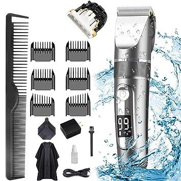 POLENTAT Kit de corte de pelo inalámbrico recargable Corta pelos profesional resistente al agua ...
