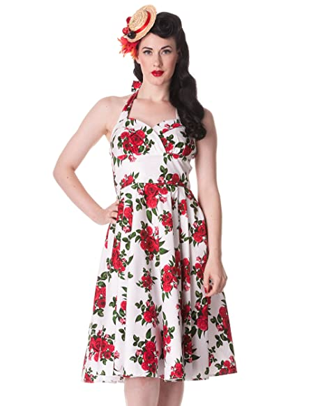 637079f4d0f4 HELL BUNNY 50s DRESS Flowers CANNES White Rockabilly Pin Up Floral All  Sizes: Amazon.co.uk: Clothing