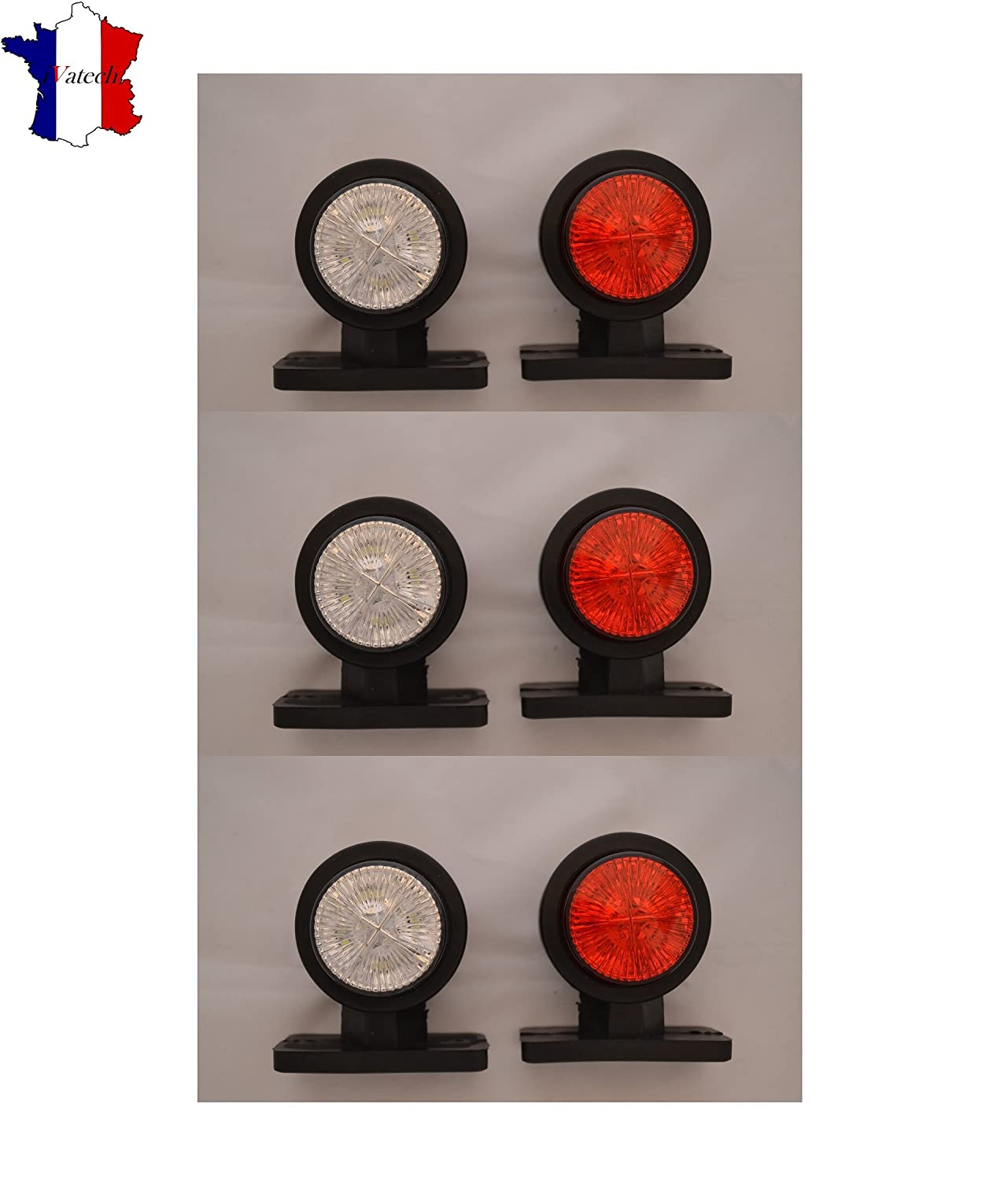 6 x 24 V SMD LED rot weiß Ampeln-Schablone LKW Anhänger Chassis ...