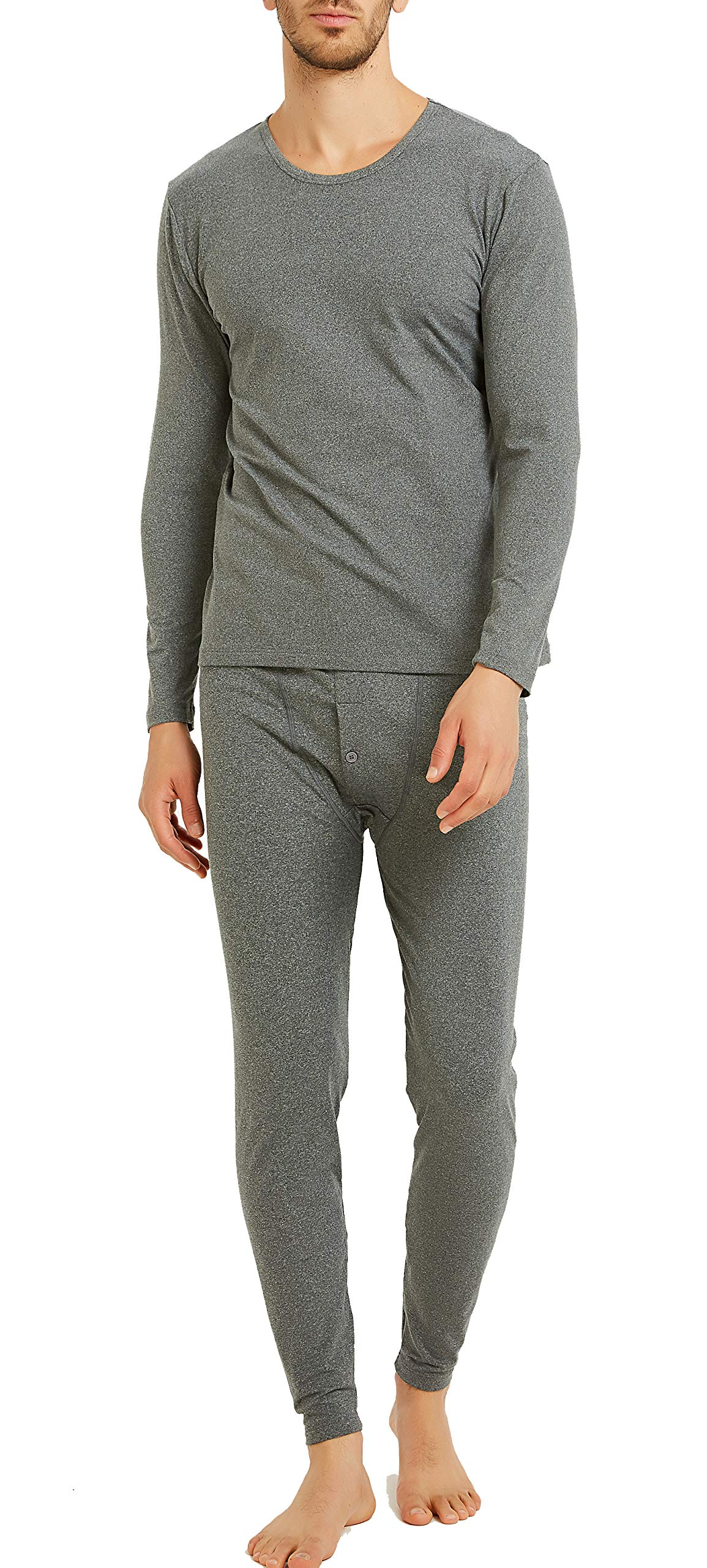 Byruze Thermal Underwear for Men Cationic Self-Heating Long Johns Men's Ultra Soft Warm Base Layer Long Sleeve Top & Bottom Winter Set Grey by Byruze