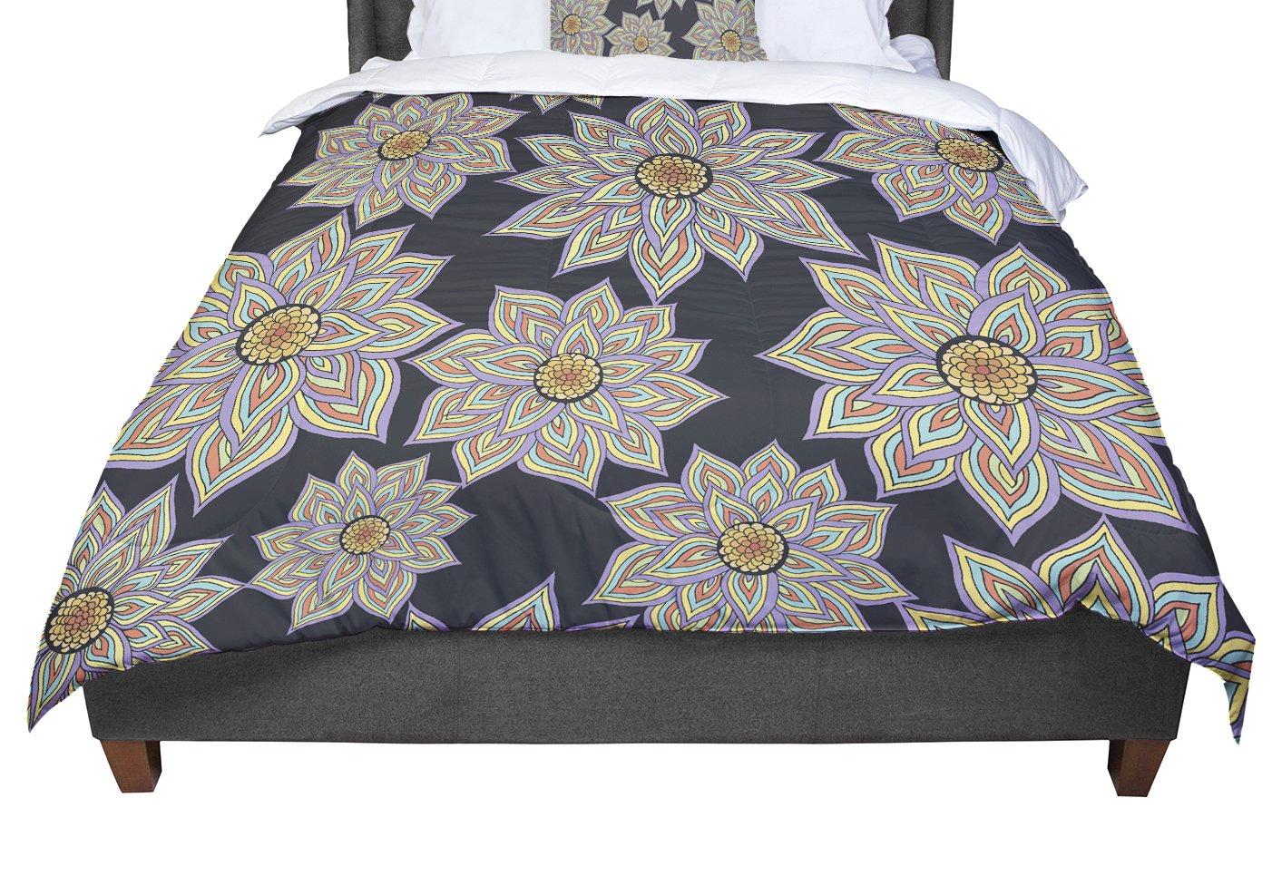 KESS InHouse Pom Graphic Design ''Floral Dance In The Dark'' King / Cal King Comforter, 104'' X 88''