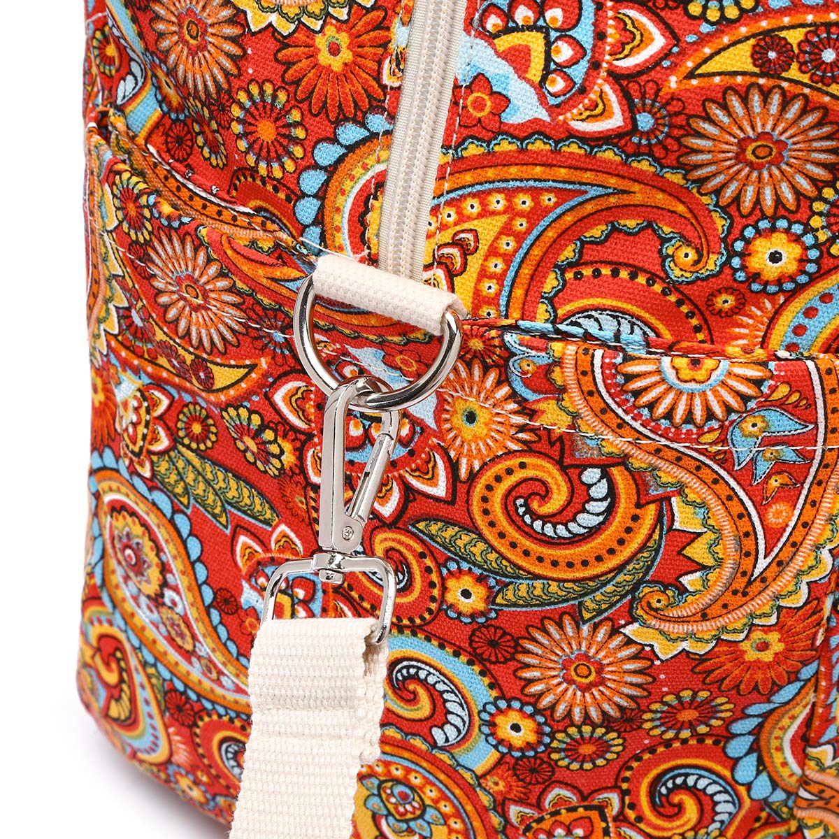 Malirona Women's Canvas Overnight Weekender Bag Carry On Travel Duffel Tote Bag Bohemian Flower (Red Flower) by Malirona (Image #7)