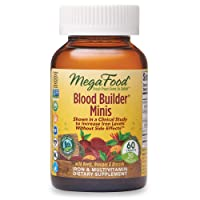 MegaFood, Blood Builder Minis, Daily Iron Supplement and Multivitamin, Supports Energy and Red Blood Cell Production Without Nausea or Constipation, Gluten-Free, Vegan, 60 Tablets