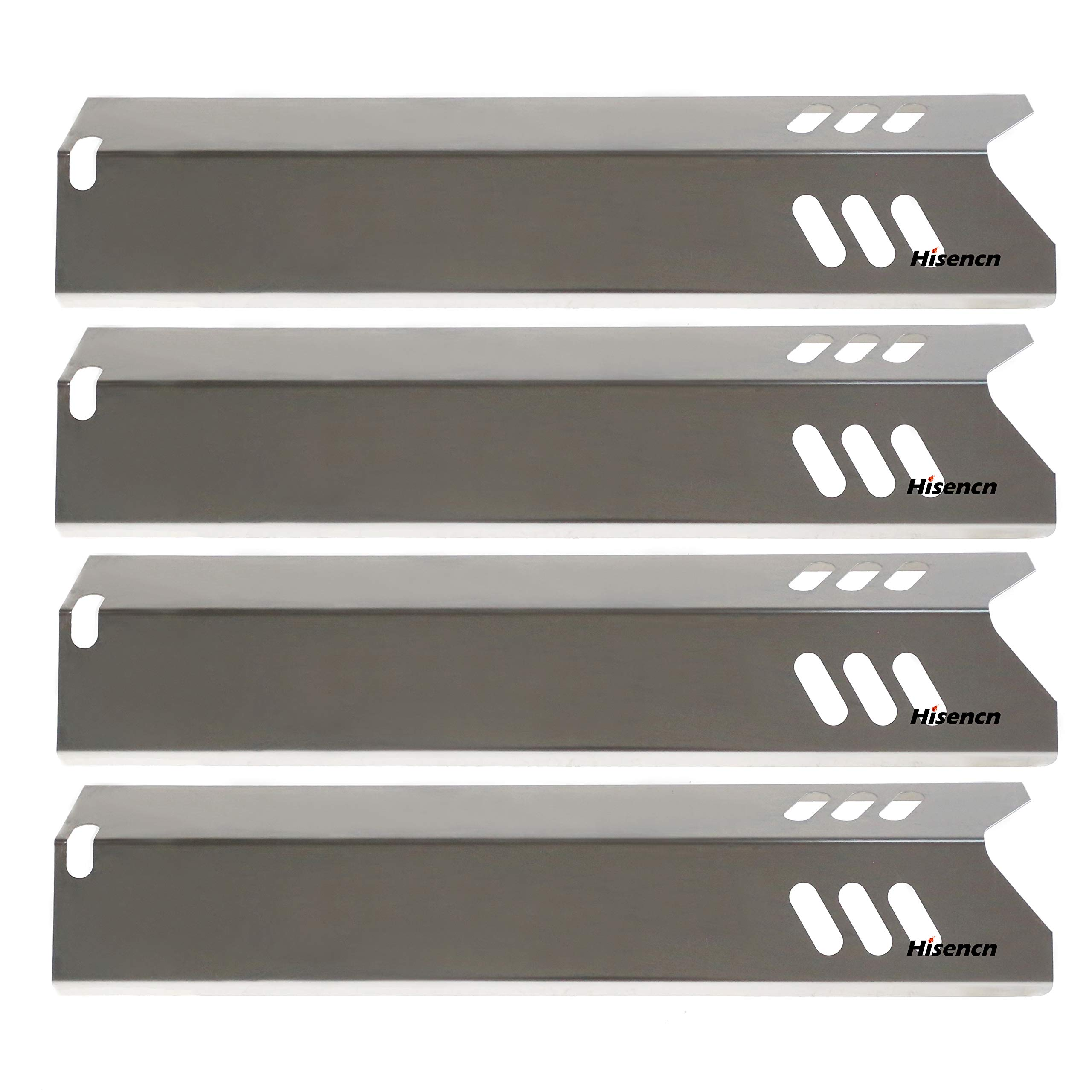 Hisencn 4PK Grill Replacement Parts for Uniflame GBC1059WB, Backyard Grill GBC1255W, Better Home and Garden, 5-Pack 15 inch Stainless Steel Heat Plate Shield Tent Flame Tamer BBQ Burner Cover