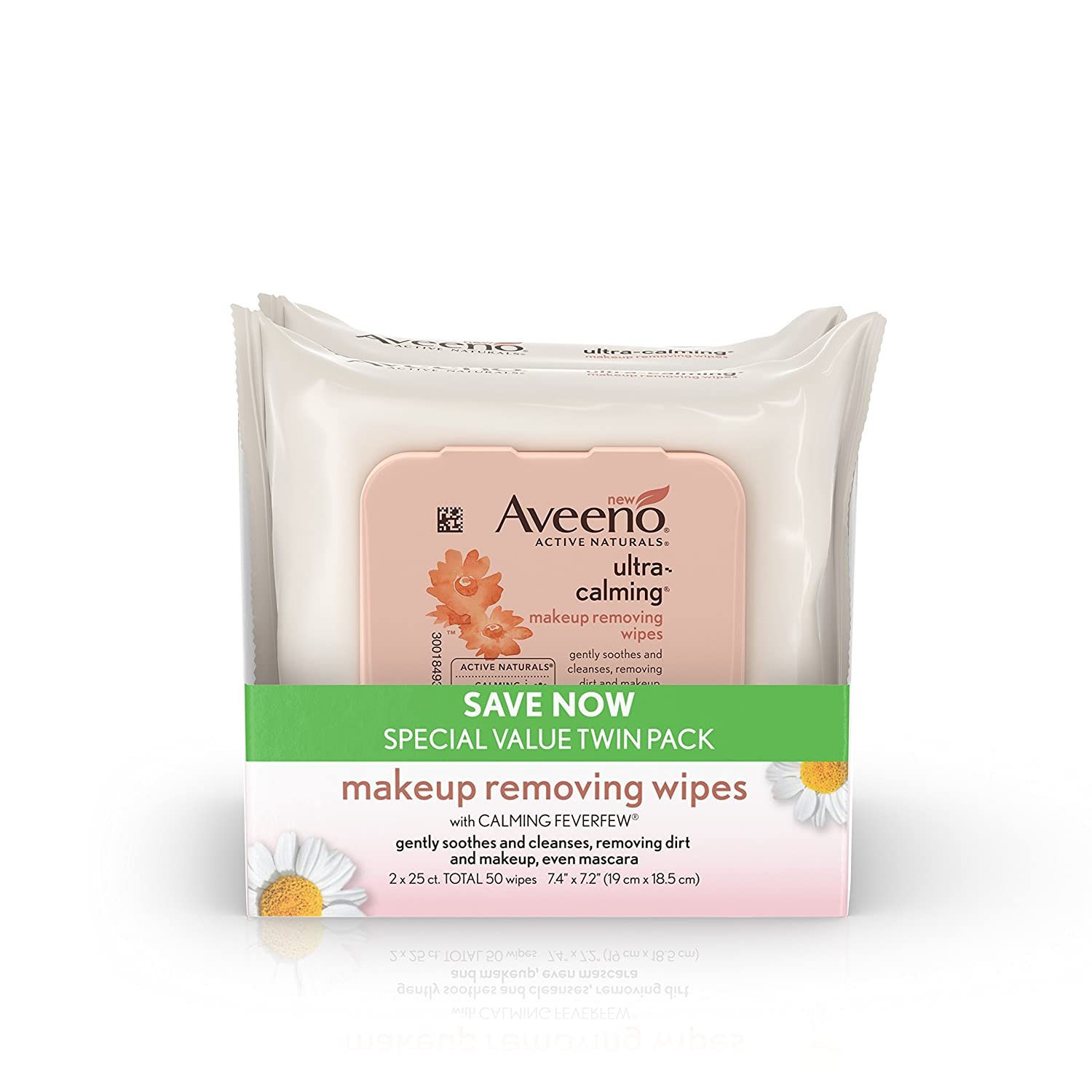 Aveeno Ultra-Calming Cleansing Makeup Removing Wipes, 25 Count, Twin Pack