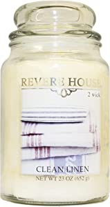CANDLE-LITE Revere House Scented Pure Cotton Single Wick 23oz Large Glass Jar Candle, Fresh Ozonic Aldehydic Fragrance, 23 oz, Ivory
