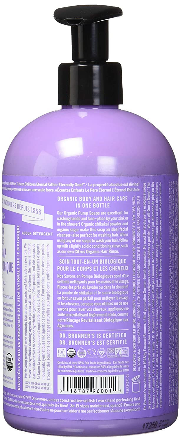 Dr  Bronner's Organic Lavender Sugar Soap  4-in-1 Organic Pump Soap for  Home and Body (12 oz)