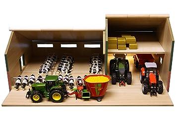 Kids Globe 610409 - Maqueta de granero y establo para vacas con cobertizo (madera,