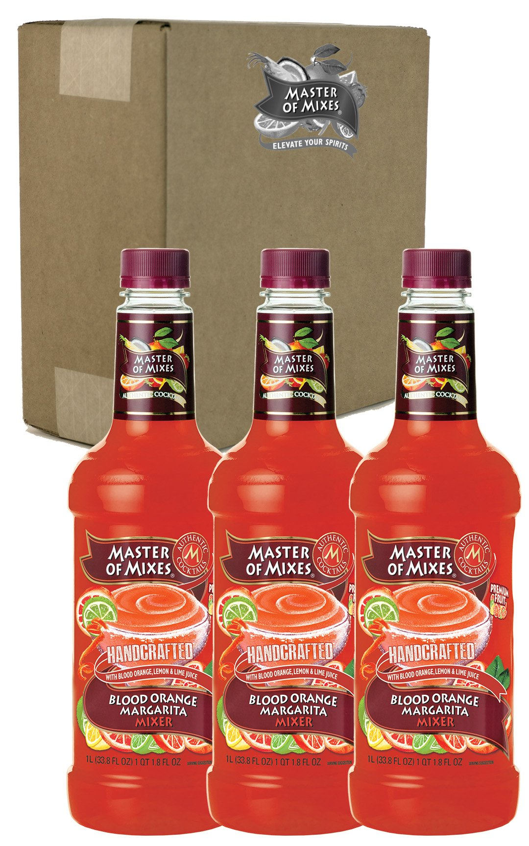 Master of Mixes Blood Orange Margarita Drink Mix, Ready To Use, 1 Liter Bottle (33.8 Fl Oz), Pack of 3 by Master of Mixes