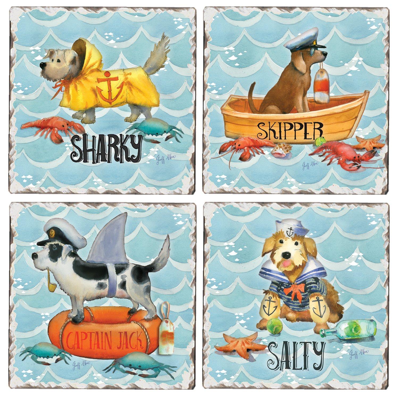CounterArt Set of 4 Assorted Tumbledタイルコースター、Whimsical Nautical犬   B078GZ5KF2