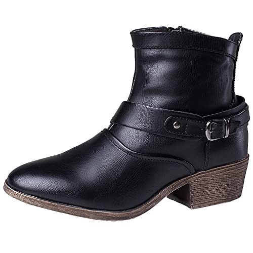 SheSole Women's Ladies Round Toe Low Heel Ankle Boots Black ...