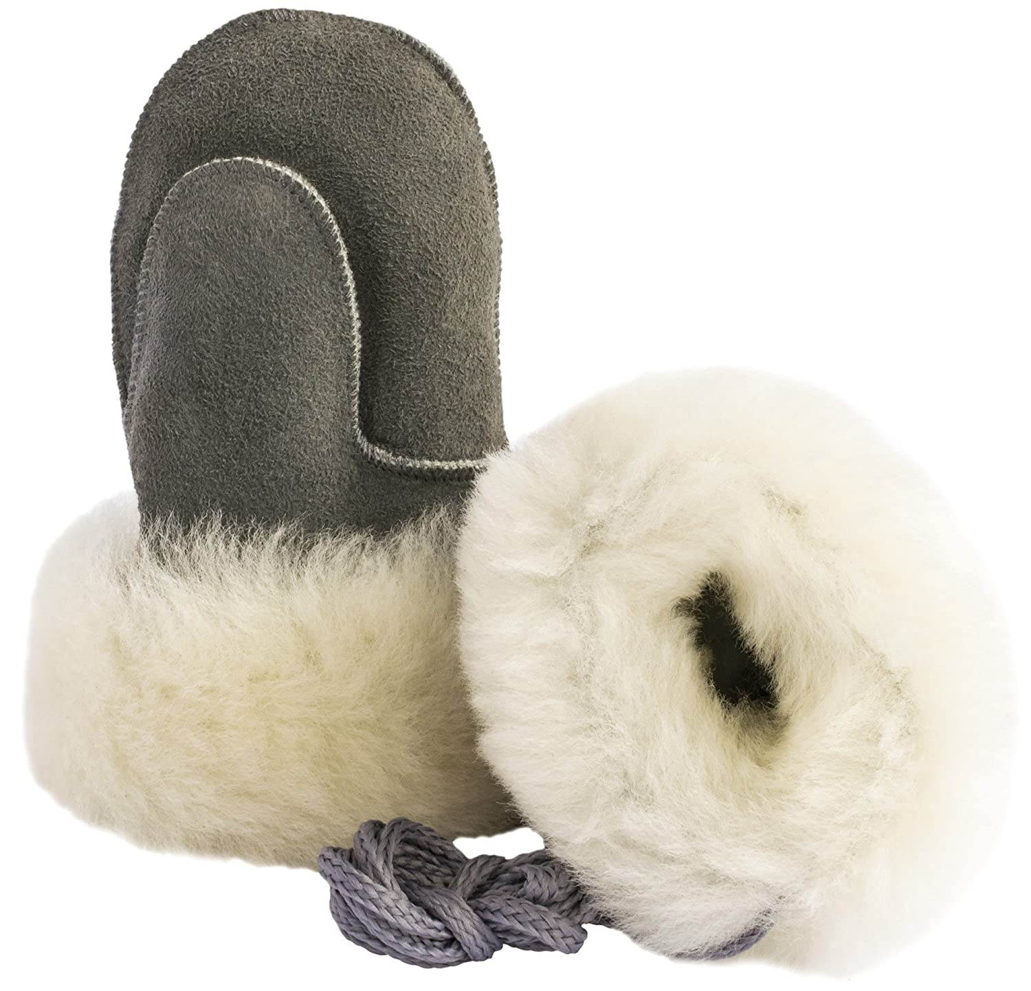 Ciora Baby Luxury Handmade 100% Lambskin Suede Mittens (Grey) With Cord - GIFT BOXED