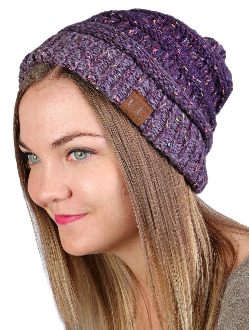 Funky Junque CC Confetti Knit Beanie - Thick Soft Warm Winter Hat - Unisex  1 Dove Grey ... eea729fa7b80