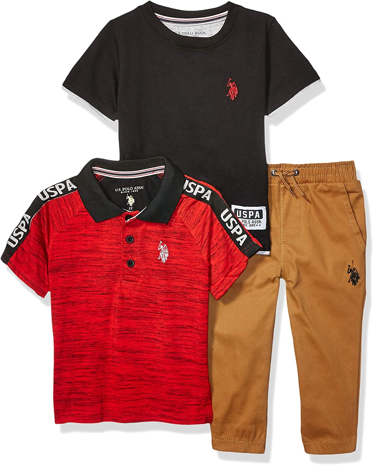 US Polo Assn Toddler//Little Boys Red Polo /& Short Set Size 2T 3T 4T 4 5 6 7