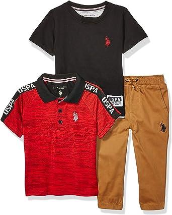 T-Shirt POLO ASSN and Jogger Set U.S Boys Long Sleeve Solid Woven