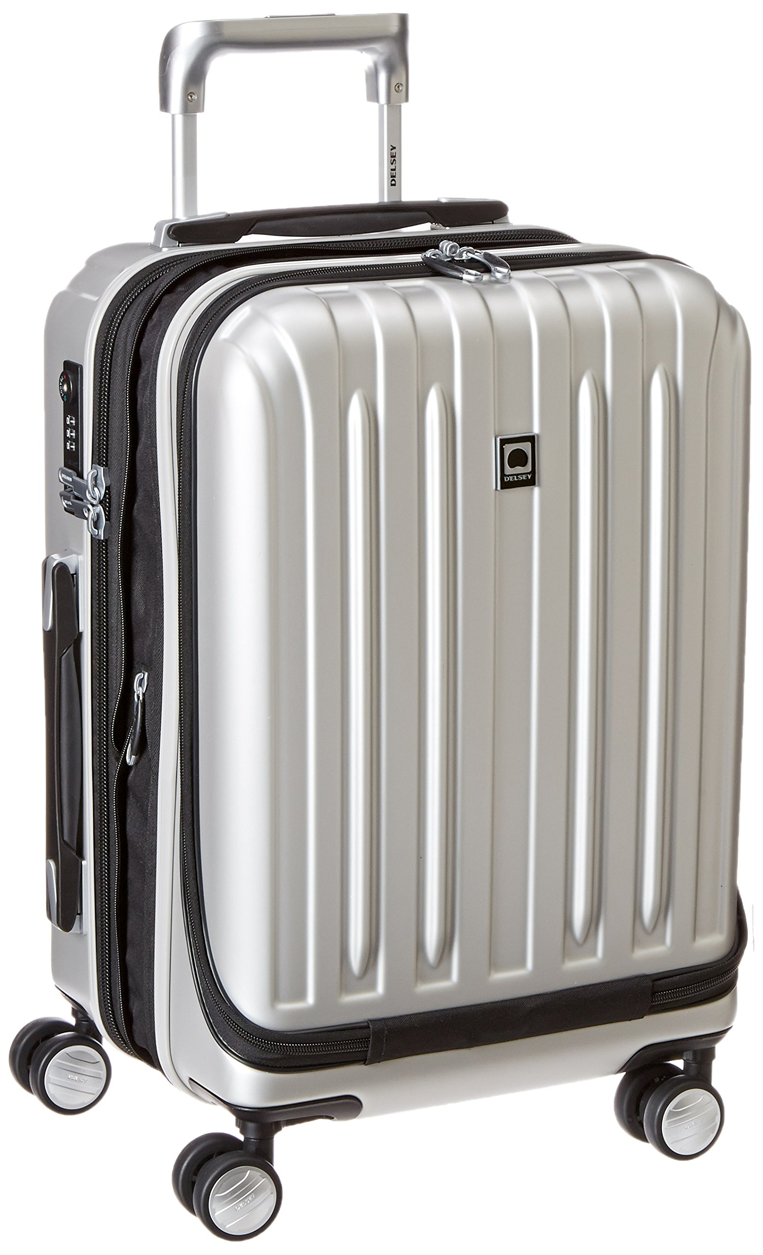 DELSEY Paris Luggage Helium Titanium International Carry On Expandable Spinner Trolley-19'', Silver