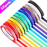 12 Rolls 0.4 Inch Colored Masking Tapes Colorful Crafts Labeling Painters Tapes with 12 Colors, 288 Yards in Total for…