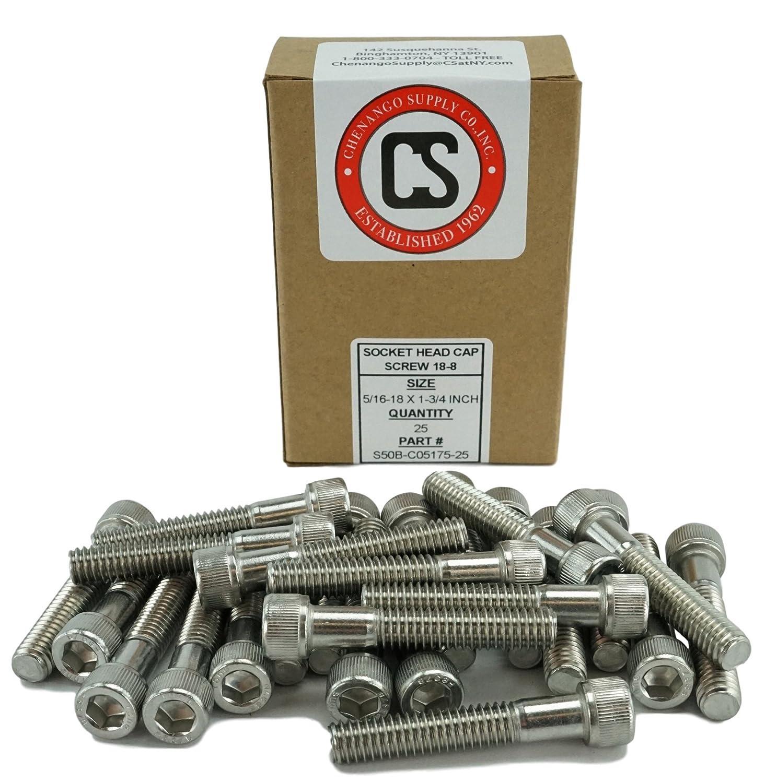 """Stainless Steel 5//16-18 x 1 1//4/"""" Socket Head Cap Screw 18//8 304 5 Pack"""