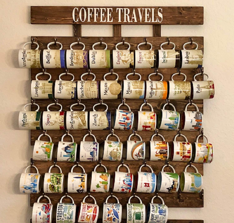 Amazon.com: Collectible You Are Here and Been There Coffee Mug Rack 48 or 56 mug hooks XL You are here mug collection display: Handmade