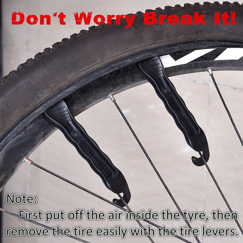 Hotop Kit de Reparación de Neumático de Bicicleta, 3 Piezas Palancas de Neumáticos de Bici Resistentes con 12 Parches de Tubo Interior: Amazon.es: Deportes ...