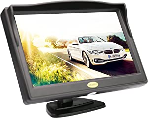 Backup Camera Monitor,RAAYOO S5-001 5 inch High Definition TFT LCD Monitor Display Screen for Car Rear View Camera with 2 Optional Bracket,2 Way Video Input,12V/24V(5 inch-01)