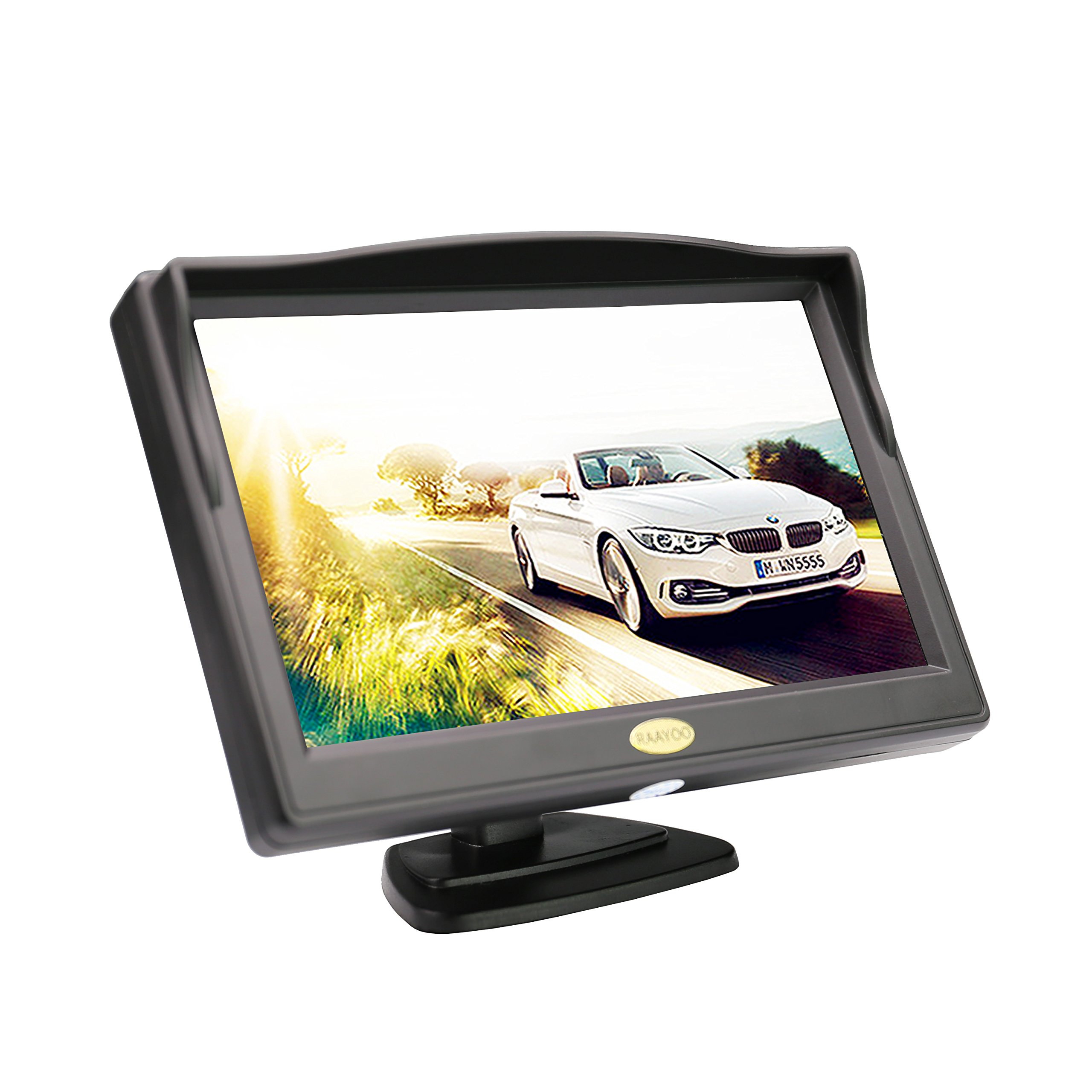 RAAYOO S5-001 5 inch High Definition Color TFT LCD Backup Monitor Display Screen for Car Rear View Camera with 2 Optional Bracket,2 Way Video input,12V/24V Wide Voltage