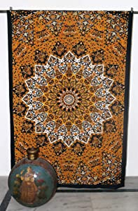 GLOBUS CHOICE INC. Twin Yellow Bohemian Tapestry Elephant Star Mandala Tapestry