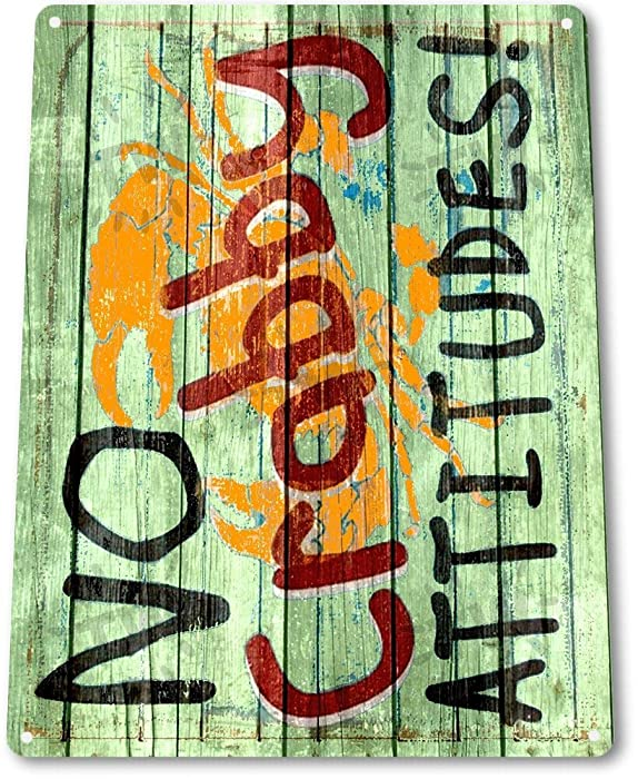 No Crabby Attitude - Seafood Sign Tin Metal
