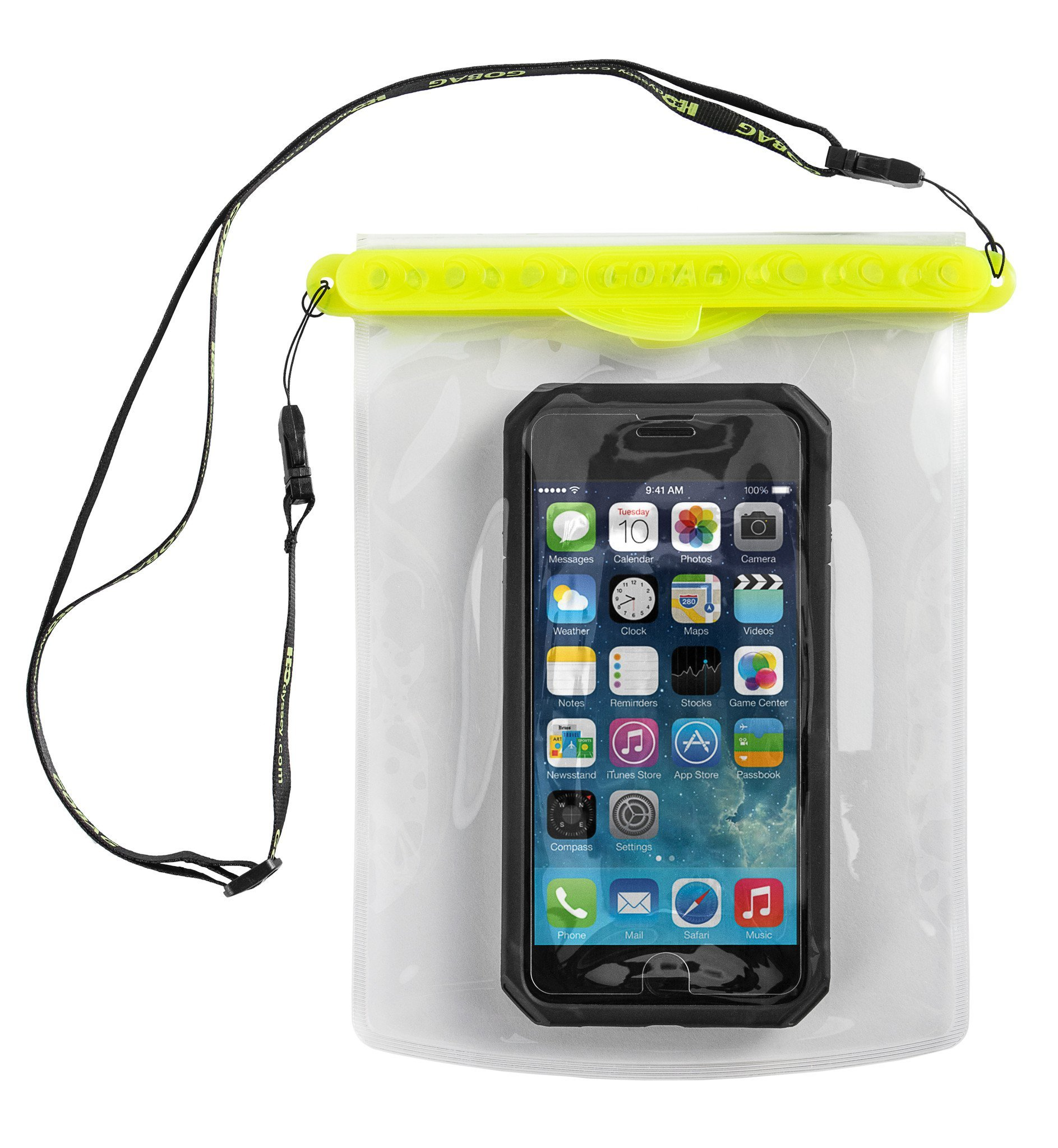 Go Bag Mako Dry Bag #1 Secure Air Tight Self-Sealing Magnetic Waterproof Case to 100 ft. Hermetic Seal Cell Phone Touchscreen Sensitive 7.5'' x 5.75'' Fits iPhone 6,7 8 + Plus (Yellow) by Go Bag (Image #1)