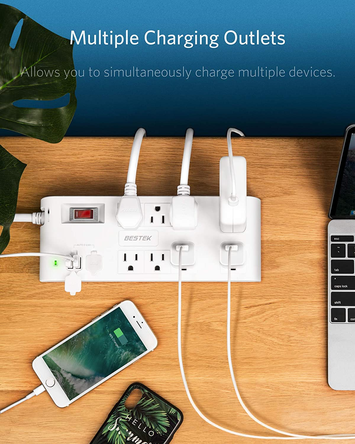 BESTEK 8-Outlet 6 Feet Extension Cord Power Strip with USB 15A 1875W Surge Protector with 5V 4.2A 4 USB Charging Port Desktop Charging Station,600Joule,Ultra-Compact Wide Spaced Outlet for Large Plug
