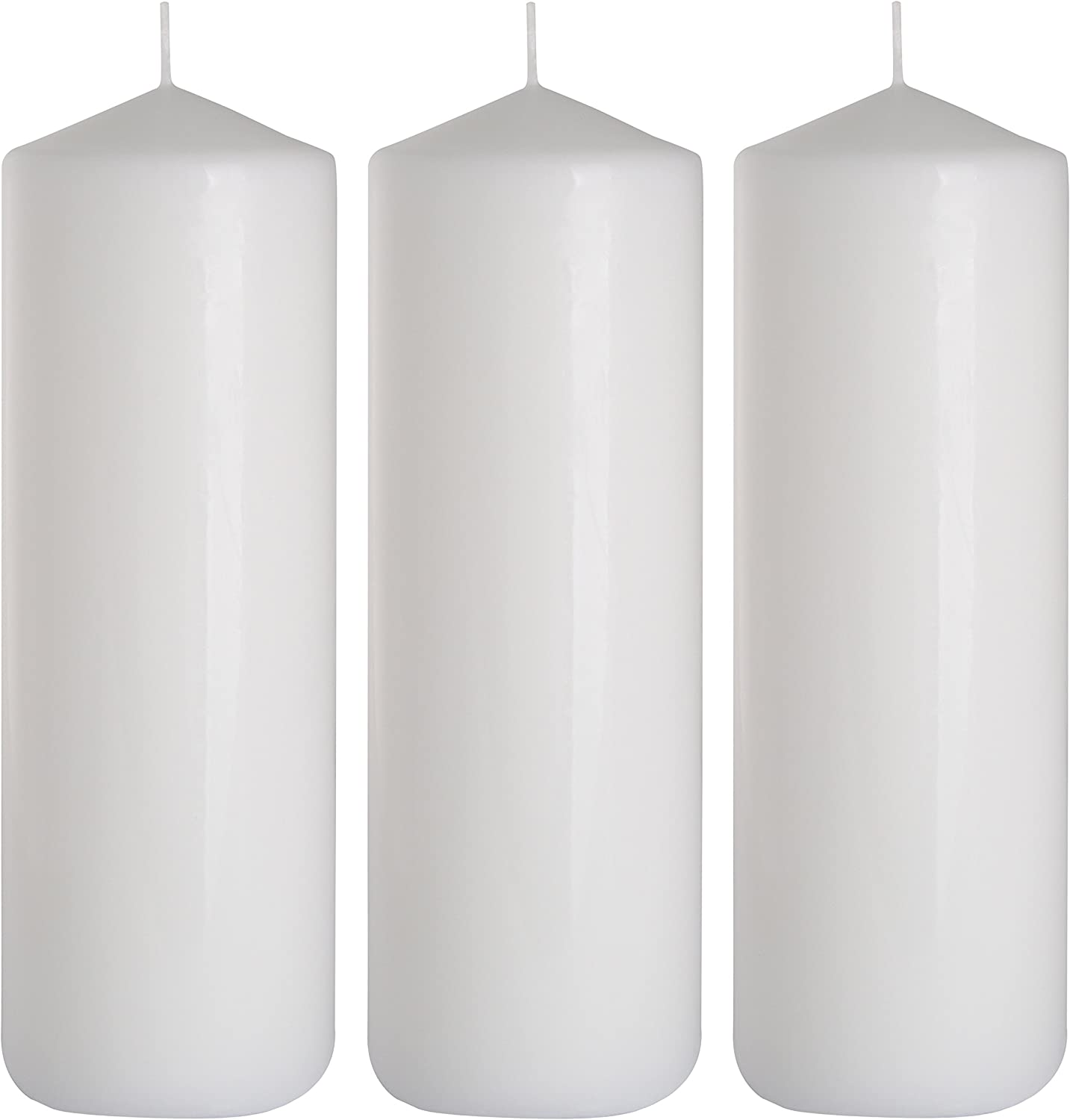 White Bolsius Pillar Indoor Outdoor Paraffin Wax Church Candle 200 x 70mm